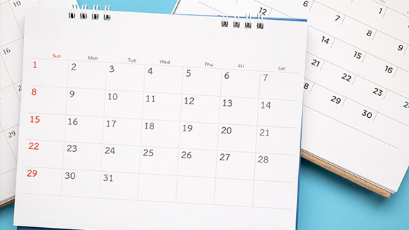 Picture of a monthly calendar